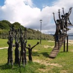 "A sculpture in Ireland depicts the orginal ""Flight of the Earls"" during which some affluent Irish in the early 1600's left for mainland Europe to recruit sympathisers against the British crown."