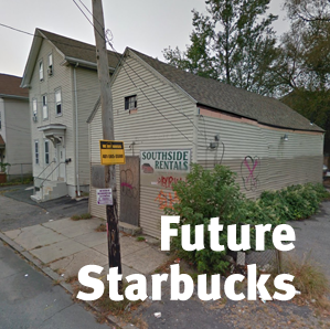 "boarded up small commercial building with overgrown weeds, sign on utility pole reads ""I buy house lots""; over-printed text reads ""future starbucks"""