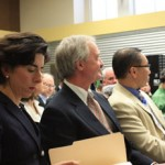 Gina Raimondo, Linc Chafee and Allan Fung, at an event to launch the campaign to cut pensions in 2011. Photo by Bob Plain, courtesy of WPRO.