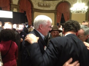 George Nee and Gordon Fox get reacquainted with each other on election night. (Photo by Bob Plain)