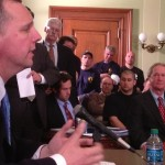 Pawtucket Mayor Don Grebien pleads for the municipal aid package as Gov. Chafee listens.