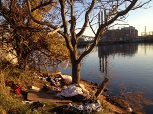 A camp on the banks of the Providence River (Photo by Bob Plain)
