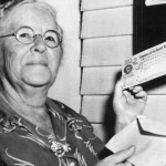 Ida May Fuller, of Brattleboro, Vermont, receiving the first ever social security check.