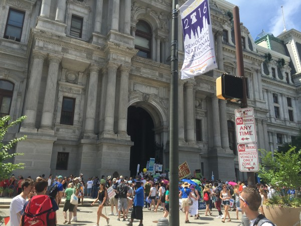 March getting organized at Philadelphia City Hall.