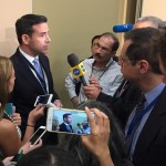 Hillary for America Press Secretary Brian Fallon speaks with media after the morning briefing on day one of the DNC.