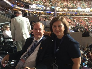 Rep. Jim Langevin (CD-2) with RI Secretary of State Nellie Gorbea at the DNC.