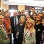 Sen. Bernie Sanders talks with the RI Delegation at the DNC Convention in Philadelphia.