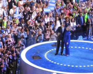 President Obama and Hillary Clinton share an embrace after his DNC speech.