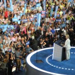 Democratic nominee Hillary Clinton delivers her acceptance speech at the Democratic National Convention.