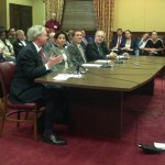 Gov. Chafee, Treasurer Gina Raimondo and Reps. Frank Ferri and Art Handy testify for marriage equality rights last week. (Photo by Jenny Norris)