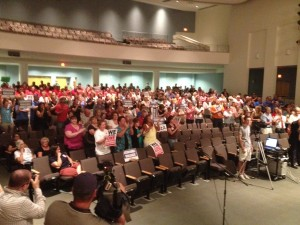 Unon members and residents packed a North Kingstown School Committee meeting.