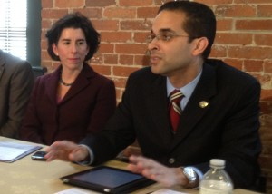 Gina Raimondo and Angel Taveras supporting payday loan reform. (Bob Plain 5/18/12 Click on image for larger version)