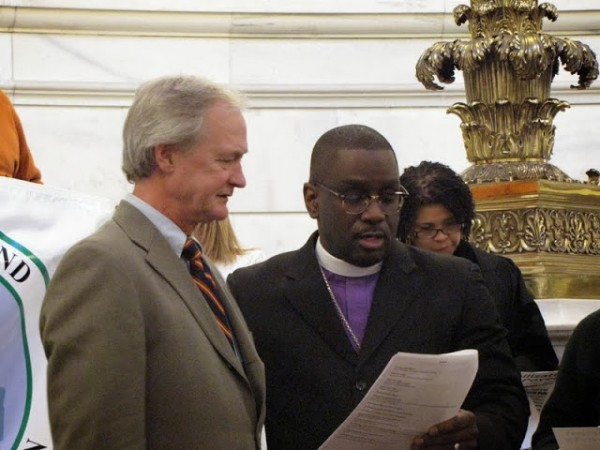 (From left to right:) Rhode Island governor, Lincoln Chafee, and Reverend Dr. Jeffery Williams (King's Cathedral)