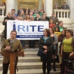 Sen. Josh Miller and Rep. Maria Cimini, sponsors of a bill that would raise taxes on the richest 2 percent of Rhode Islanders.
