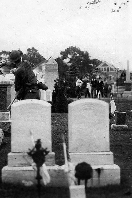 Militia attacking striking from behind gravestones in Saylesville, Rhode Island.