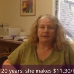 After 20 years on the job, Sue Sulham makes $11.30 an hour