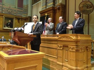 Providence Mayor Angel Taveras delivering his 2012 State of the City address. (Photo by Bob Plain)