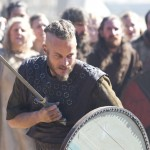 Ragnar Lodbrok (Travis Fimmell) in combat. (via History Channel)