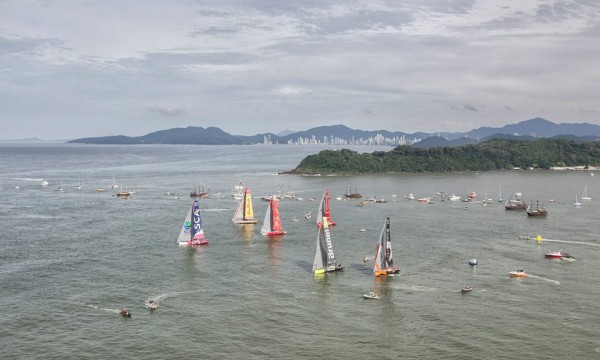 Volvo Ocean Race, Itajai, Brazil in April. Nest stop Newport.