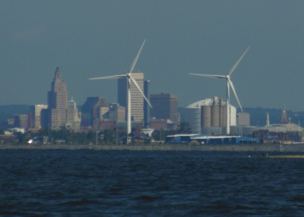 And here's downtown as seen from behind the Field's Point windfarm.